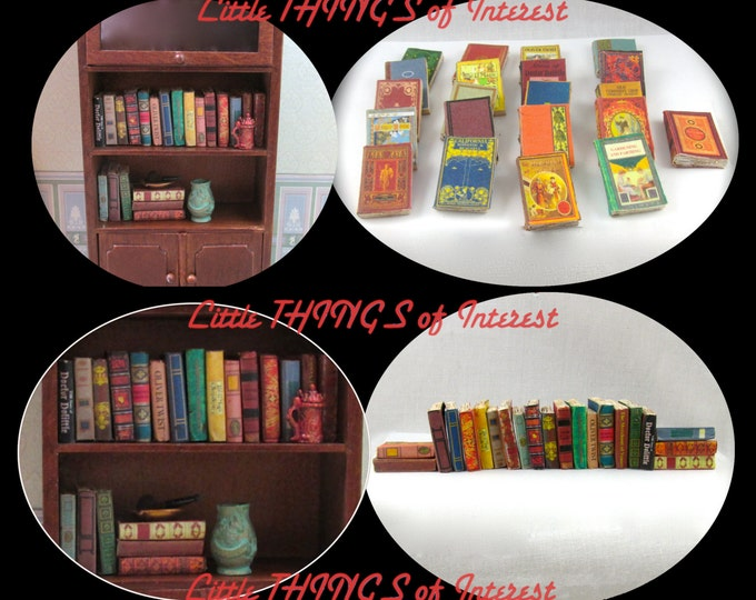 21 Vintage Style Miniature Books Dollhouse 1:12 Scale Prop Fill a Bookshelf Library Old Dusty Books Faux Books