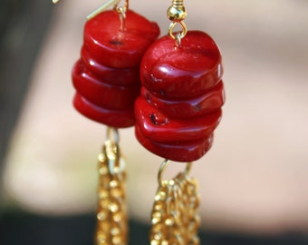 Beautiful Vivid Red Coral Tassel Earrings, Fashion, Baubles, Gift Ideas, Trendy, Handcrafted, Natural Beads.