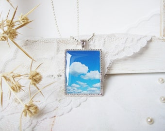Resin Necklace Boho Vintage Pendant Light Blue Sky and White Clouds