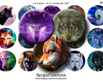 MYSTICAL WOLF - Digital Collage Sheet 1 inch circle images for bottle caps, pendants, round bezels, etc. Instant Download #164.