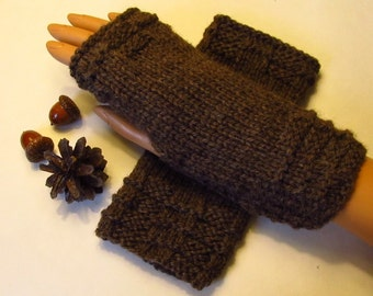 Natural Undyed Wool Fingerless Texting Mittens, Handwarmers, Hand Warmers, Gloves, Color is Coffee, Handmade