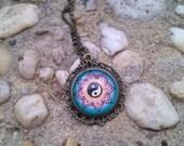 Yin Yang Flower Necklace Meditation Art Art Floral Design Henna Mehndi Vintage Style Hand Drawn Handmade Jewelry Happiness Peace Symbolism