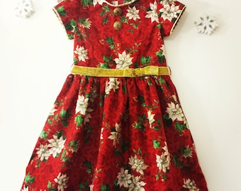 Girls Dress, Red Christmas Dress, Poinsettia Holiday Dress, Girls size 6 dress, Ready to Ship/Little Girls Dress,/MYSWEETCHICKAPEA