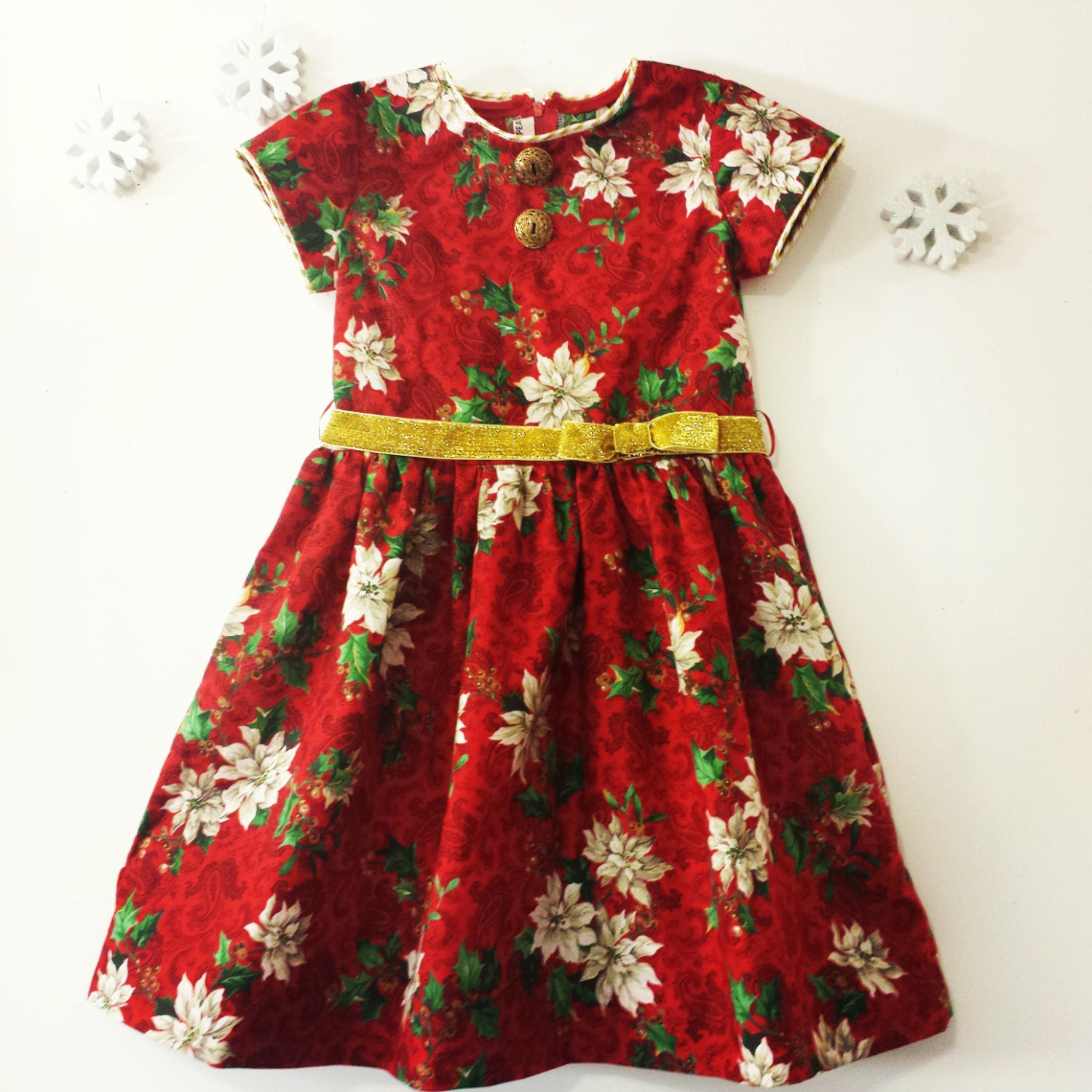 Girls red christmas dress poinsettia holiday