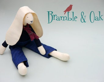 Baby Boy Toy Softie Stuffed Baby Fabric Rabbit Doll Upcycled Denim, Navy Linen and Plum Tartan Scarf in Gift Bag Named Luca Bramble and Oak