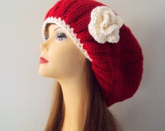 Slouchy Hat with Big Flower Slouchy Beanie Royal Blue Hat Fashion Accessories
