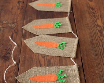Carrot Easter Banner with burlap, ric-rac and lace