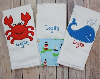 Personalized Boy Burp Cloth Set - Monogrammed Burp Cloth Set for Baby Boy - Nautical Burp Cloth with Whale, Sailboats, and Crab
