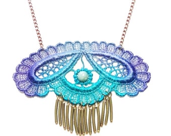 SALE- MAMBO SUN Metal Fringe Lace Necklace