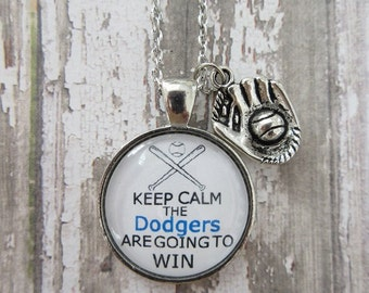 MLB Choose Your Team/Color Keep Calm The Dodgers Are Going To Win Glass Pendant Necklace With Baseball Mitt Charm