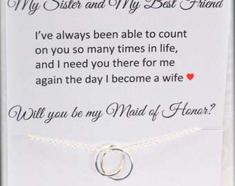 SISTERS Necklace, Sister as Maid of Honor, CUSTOM Maid of Honor card, Gift set for sisters, Thank you Gift, Personalized sisters POEM