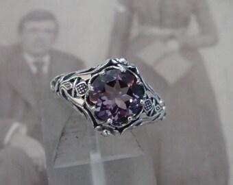 Art Nouveau design Sterling Silver Light Amethyst  Ring  Size 6.75