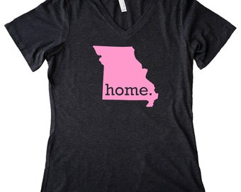 V Neck Missouri Home State T-Shirt Women's PINK EDITION Triblend Tee - Sizes S-XXL