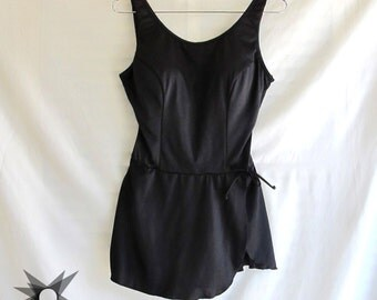 Vintage 1980's Pin-Up Style Black Skirted Maillot One-Piece Swimsuit Size M