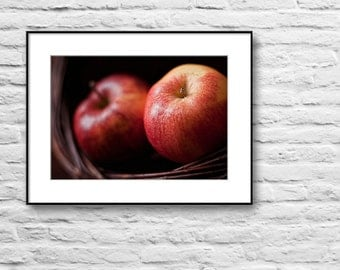Country Kitchen Wall Decor, Apple Photography, Still Life Kitchen Photo Print, Red Brown, Wall Decor Photo Print, Fruits Photography