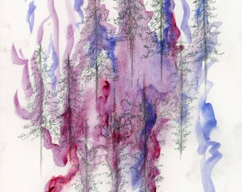 Original Watercolor and Graphite Painting, Abstract Trees, Purple and Blue, 6x8