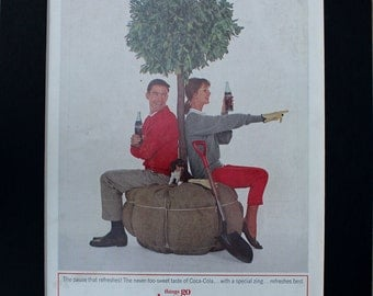 1964 Coca-Cola Magazine Advertisement/Vintage advertising/retro ads/1960s/Coke/Coca Cola/cool men's gift/Arbor Day/trees