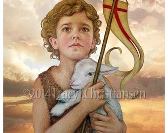 Saint John the Baptist (Child) Art Print, Catholic Patron Saint #4112