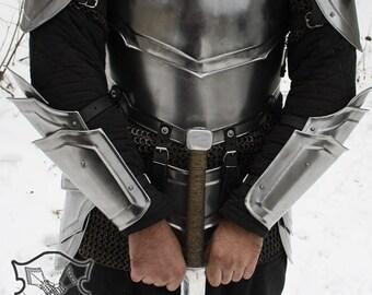 "Larp, fantasy, medieval, costume, steel armour: arm bracers ""Combatant"" (two units)"