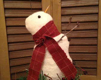 Primitive Christmas Winter Snowman Catching a Falling Snowflake