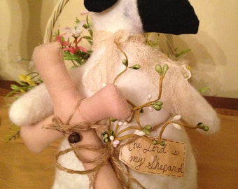 """Primitive Easter Sheep holding Cross with Spring Berries and Tag, """"The Lord is My Shepard"""""""