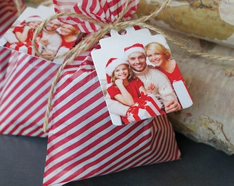 Printed Photo Christmas Gift Tags with Message (Boutique Tags)