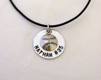 Personalized Baseball Necklace with Baseball Charm, Name and Number on a Leather Cord.