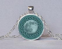 CELTIC MOON PENDANT Pagan Jewelry Full Moon Necklace Celtic Knot Pendant Teal Aqua Celtic Jewelry Wicca Jewelry Pagan Pendant Wicca Gift