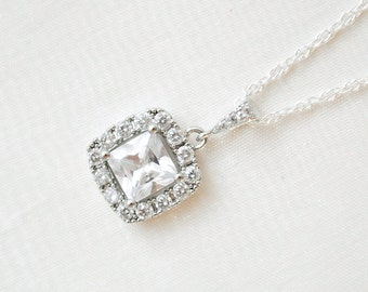 Square CZ Pendant, Bridal Necklace, Sterling Silver Chain, Bridal Necklace, Wedding Necklace