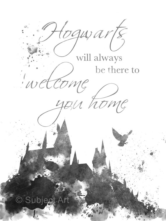 ART PRINT Hogwarts Quote Harry Potter Black and White