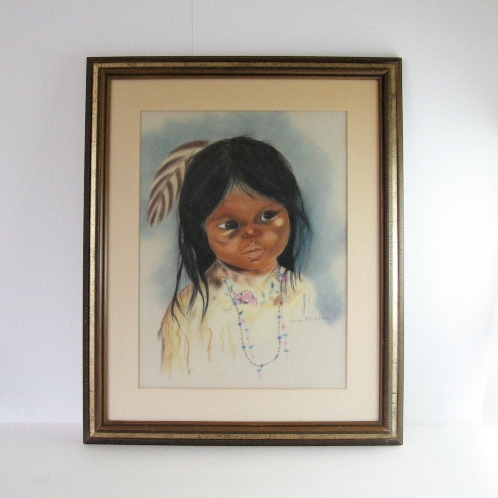 Pastel Drawing Native American Girl With Feather 18x22