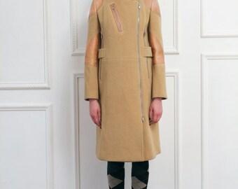 30% Season Off_Italy Lamb Patchwork Royal Angora Zippered Coat - LIGHT CAMEL