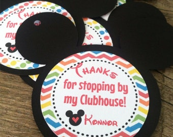 Mickey Mouse Clubhouse Favor Tags, Thank You Tags, Gift Tags - Personalized  - baby shower, birthday - set of 12