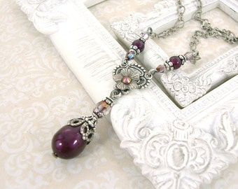 Dainty Plum Purple Victorian Necklace - Plum Pearl Wedding Necklace Swarovski Crystal Antique Silver Victorian Wedding Bridesmaids Jewelry