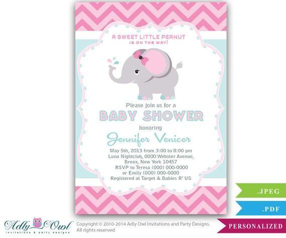 aqua pink gray elephant baby shower printable diy party invitation for