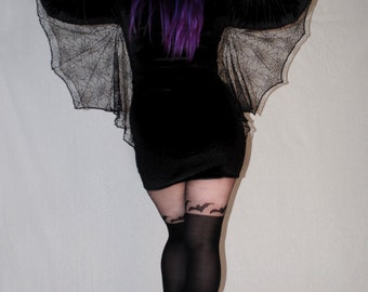 Manticore velvet bodycon dress with spiderweb lace bat wings