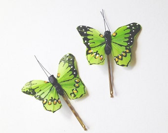 Green Butterfly Hair Pins, butterfly hair clips, Bridal hair clips, Wedding flower pins, butterfly bobby pins, woodland wedding, lime green