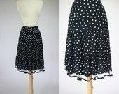 1990's polka dot skirt, lace tulle skirt, rayon skirt, high waist skirt, black skirt, white dot skirt, medium skirt, size 8 skirt