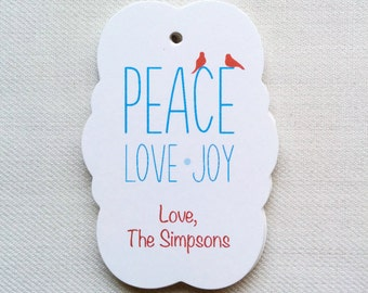 Holiday gift tags, customized holiday tags, modern Christmas gift tags, PEACE LOVE JOY tags, personalized gift tag (th-10)