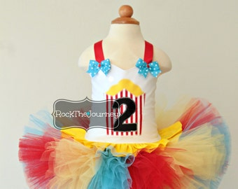 Popcorn Circus Birthday Party Tutu Outfit - Carnival Clown Personalized Pageant Halloween Costume Cake Smash Baby Girl First 1 2 3 4 5 6 1st