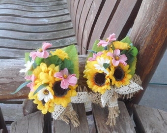 Sunflower Pin On or Wrist Corsage / Country Wedding / Silk Wedding Flowers / Rustic Wedding / Pink and Sunflower Prom Corsage / Prom Flowers