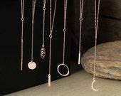 Lariat Necklace Sterling Silver Y necklace Bar necklace Dainty Round Bar Necklace Layering Necklace Minimal Jewelry bridesmaid necklace