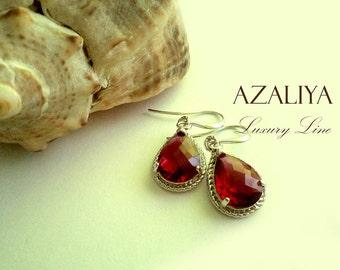 Ruby Drops Dangles in Silver. Red Quartz Crystals Earrings. Ruby. Red. Azaliya Luxury Line. Bridal, Bridesmaids Earrings.