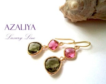 Earrings Olive Green & Fuchsia Crystals. Beautiful Ballerina Chandeliers. Azaliya Luxury Line. Brides, Bridesmaids Earrings. Gift Wrapping.