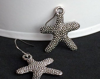 3D Silver Plated Starfish Earrings, Fun Drop Dangle Earrings E100