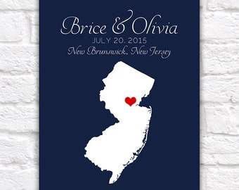 Custom Wedding Gift  Map - New Jersey, Engagement, Summer Wedding, Nautical Blue, Red, New Brunswick, Newark, Jersey Shore, Family