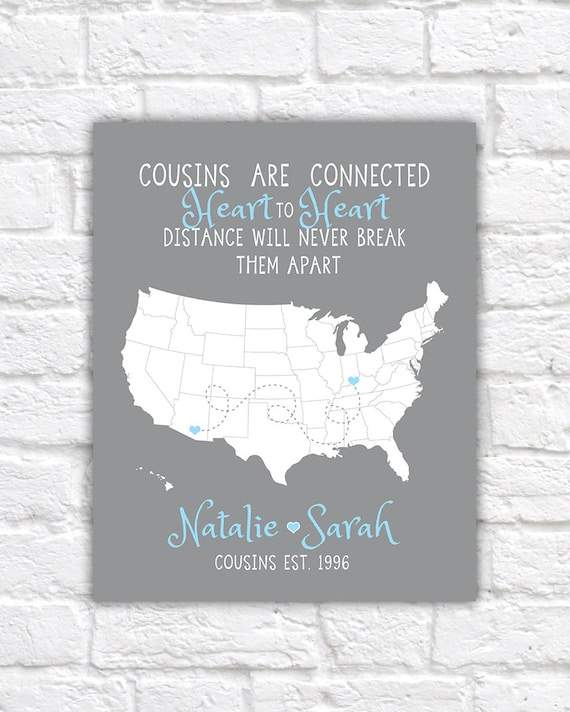 Cousin gift christmas gift for long distance family cousins quote