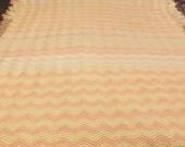 Handmade Chevron Afghan Fringed Bedspread Blanket