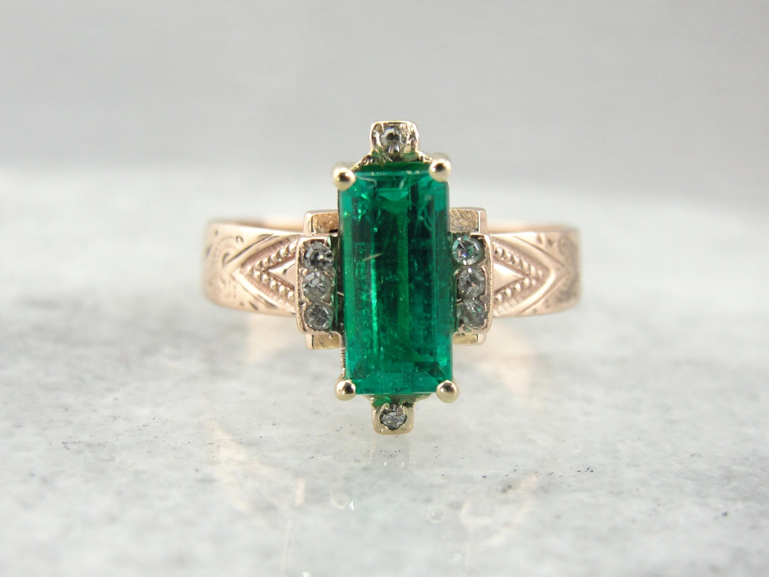 Antique Rose Gold Diamond And Emerald Ring Victorian Mounting