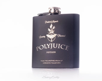 Polyjuice Potion Flask, inspired by Harry Potter -  6oz Engraved (Black Matte) Flask